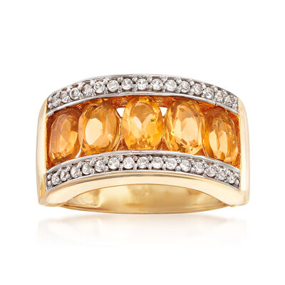 2.20 ct. t.w. Citrine and .40 ct. t.w. White Zircon Ring in 18kt Gold Over Sterling, , default