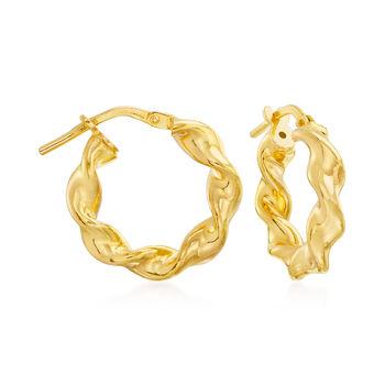 "Italian 18kt Gold Over Sterling Jewelry Set: Three Pairs of Hoop Earrings. 5/8""-3/4"", , default"