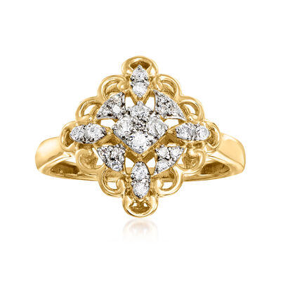 .25 ct. t.w. Diamond Kite Ring in 18kt Gold Over Sterling
