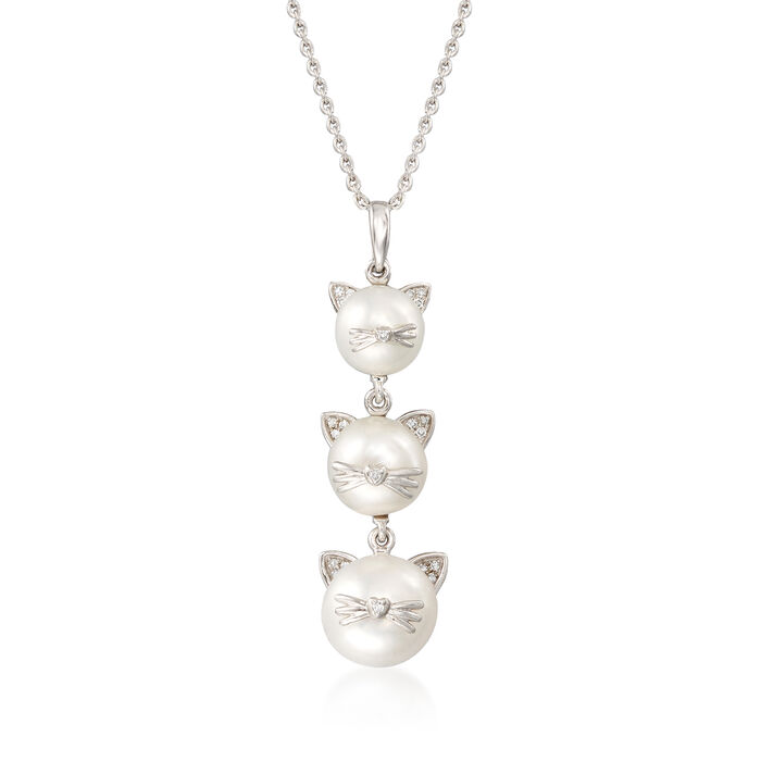 7-9.5mm Cultured Pearl Cat Pendant Necklace with Diamond Accents in Sterling Silver