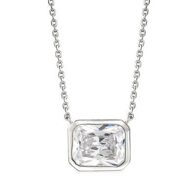 4.00 Carat Bezel-Set CZ Pendant Necklace in Sterling Silver