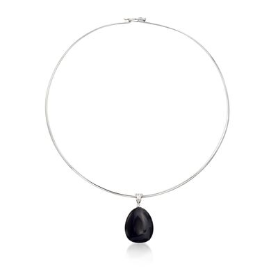 Black Agate Pendant Collar Necklace in Sterling Silver, , default