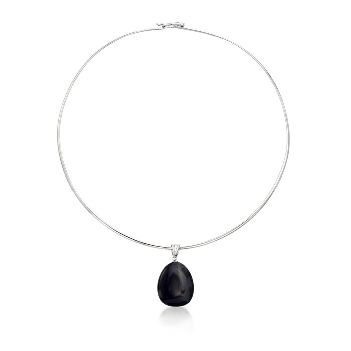 """Black Agate Pendant Collar Necklace in Sterling Silver. 16"""", , default"""