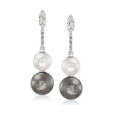 Mikimoto 9mm A+ Black South Sea Pearl, 7mm Akoya Pearl and .19 ct. t.w. Diamond Drop Earrings in 18kt White Gold