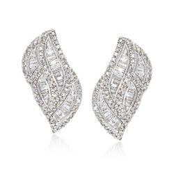 1.00 ct. t.w. Diamond Curve Earrings in Sterling Silver, , default
