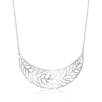 Italian Sterling Silver Leaf Necklace, , default