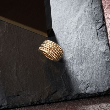 14kt Yellow Gold Roped Three-Row Ring, , default