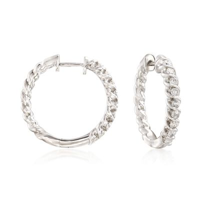 .75 ct. t.w. Diamond Spiral Hoop Earrings in Sterling Silver, , default