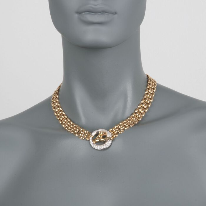 """C. 1980 Vintage 1.50 ct. t.w. Diamond Panther Necklace in 18kt Yellow Gold. 16.5"""", , default"""