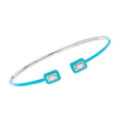 .20 ct. t.w. Diamond Cuff Bracelet with Turquoise Enamel in 18kt White Gold