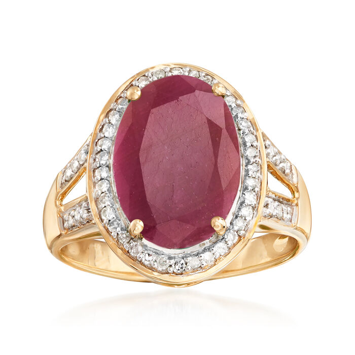 5.50 Carat Ruby Ring with .24 ct. t.w. Diamonds in 14kt Yellow Gold, , default