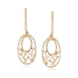 .64 ct. t.w. Diamond Double-Oval Drop Earrings in 14kt Yellow Gold, , default