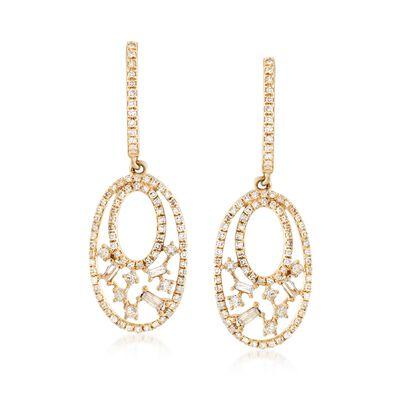 .64 ct. t.w. Diamond Double-Oval Drop Earrings in 14kt Yellow Gold , , default