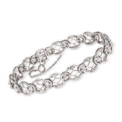 C. 1950 Vintage 1.75 ct. t.w. Diamond Circle-Link Bracelet in Platinum