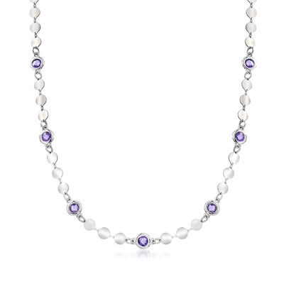 Italian 1.60 ct. t.w. Bezel-Set Violet CZ and Sterling Silver Disc Station Necklace, , default