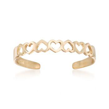 14kt Yellow Gold Openwork Hearts Toe Ring, , default