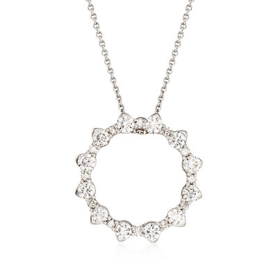 Roberto Coin .80 ct. t.w. Diamond Open Circle Necklace in 18kt White Gold, , default