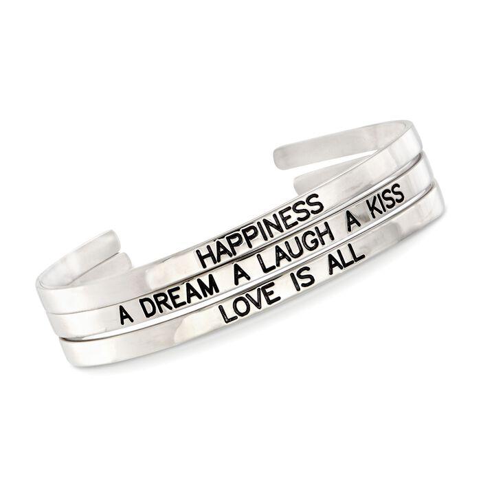 Sterling Silver Jewelry Set: Three Inspirational Cuff Bangle Bracelets, , default