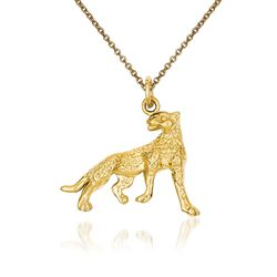 "14kt Yellow Gold Cheeta Pendant Necklace. 18"", , default"