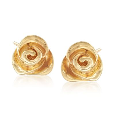 Italian 18kt Yellow Gold Over Sterling Silver Rose Earrings, , default