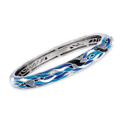 Belle Etoile Migration Enamel and .27 ct. t.w. CZ Bangle Bracelet in Sterling Silver, , default