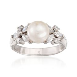 8mm Cultured Button Pearl and .70 ct. t.w. CZ Ring in Sterling Silver, , default