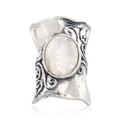 Moonstone Swirl Ring in Sterling Silver, , default