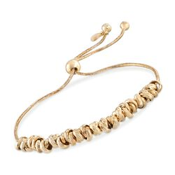 Italian 18kt Yellow Gold Over Sterling Silver Crisscrossing Bead Bolo Bracelet, , default