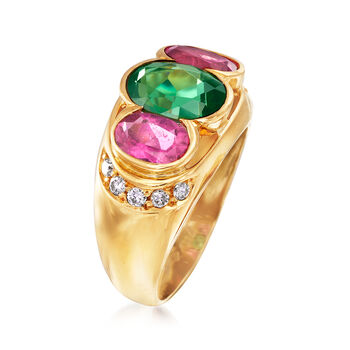 C. 1990 Vintage 3.50 ct. t.w. Green and Pink Tourmaline and .25 ct. t.w. Diamond Ring in 18kt Yellow Gold. Size 7