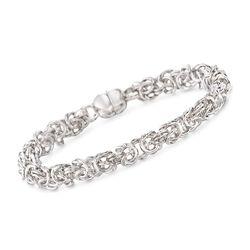 Italian Andiamo 14kt White Gold Byzantine Bracelet, , default