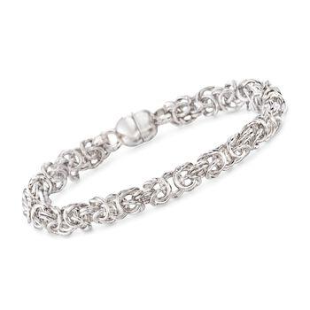 "Italian Andiamo 14kt White Gold Byzantine Bracelet. 7"", , default"
