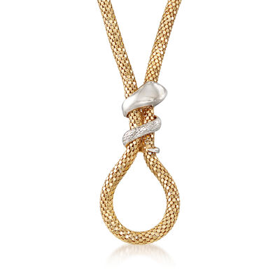 Italian Two-Tone Sterling Silver Snake Mesh Necklace, , default