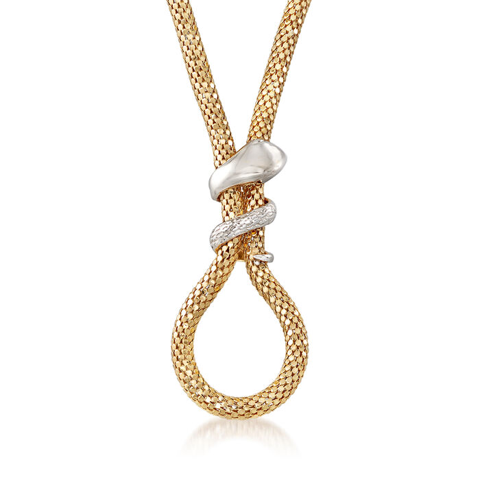 """Italian Two-Tone Sterling Silver Snake Mesh Necklace. 18"""", , default"""