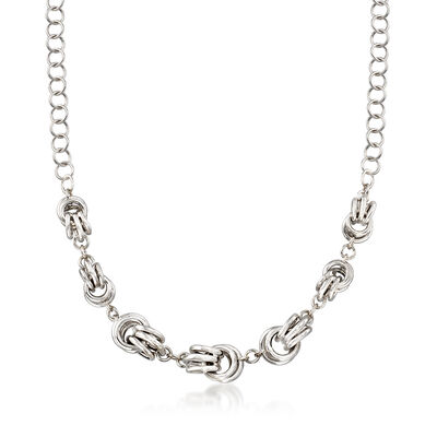Italian Sterling Silver Graduated Knots Necklace, , default