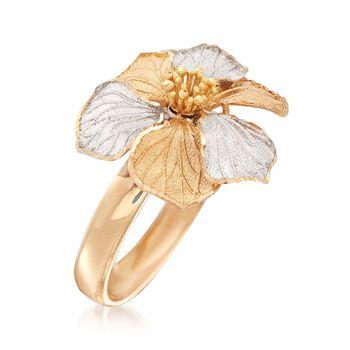 Italian 18kt Two-Tone Gold Flower Ring, , default