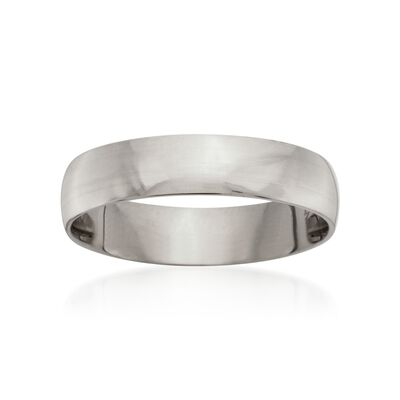 Men's 5mm 14kt White Gold Wedding Ring, , default