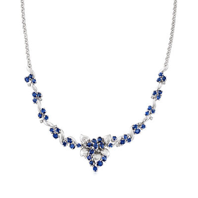 C. 1990 Vintage 7.38 ct. t.w. Sapphire and .25 ct. t.w. Diamond Floral Necklace in Platinum