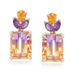 3.70 ct. t.w. Ametrine Floral Earrings With Citrines and Amethysts in 14kt Yellow Gold, , default
