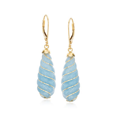 Carved Aquamarine Teardrop Earrings in 14kt Yellow Gold, , default