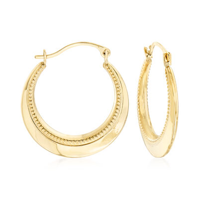 14kt Yellow Gold Beaded and Polished Hoop Earrings , , default