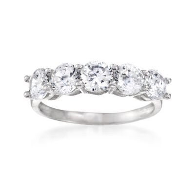 2.00 ct. t.w. CZ Five-Stone Ring in Sterling Silver, , default