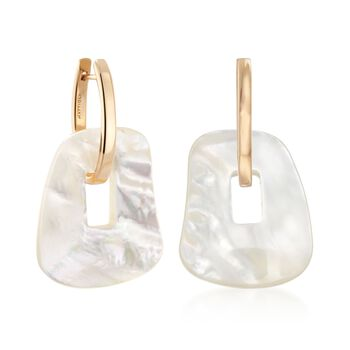 "Mattioli ""Puzzle"" 18kt Yellow Gold Earrings with Three Interchangeable Drops: 18kt Gold and Multicolored Mother-Of-Pearl. 1 3/8"", , default"