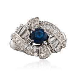C. 1960 Vintage .95 Carat Sapphire and 1.65 ct. t.w. Diamond Ring in Platinum. Size 6.5, , default