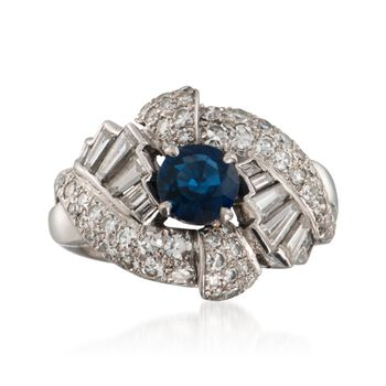 C. 1960 Vintage .95 Carat Sapphire and 1.65 ct. t.w. Diamond Ring in Platinum. Size 6.5, , default