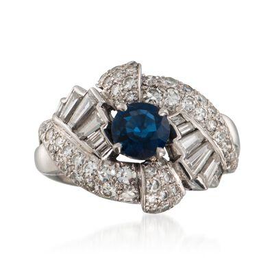 C. 1960 Vintage .95 Carat Sapphire and 1.65 ct. t.w. Diamond Ring in Platinum, , default