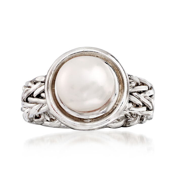 8mm Cultured Button Pearl Ring in Sterling Silver, , default