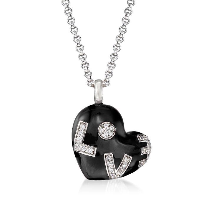 "Belle Etoile ""Love"" Black Enamel and .47 ct. t.w. CZ Heart Pendant in Sterling Silver, , default"