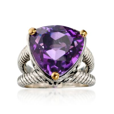 Balinese 10.80 Carat Amethyst Ring in 18kt Yellow Gold and Sterling Silver, , default