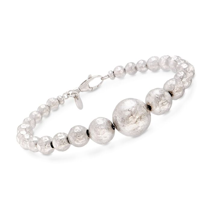 "Italian 5-11.5mm Sterling Silver Hammered Bead Bracelet. 8"", , default"