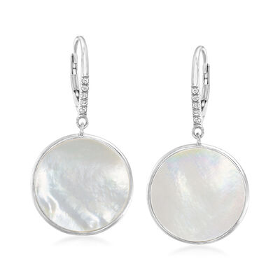 Mother-Of-Pearl and .10 ct. t.w. White Topaz Circle Drop Earrings in Sterling Silver